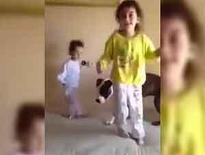 Perro pitbull juega con niñas y salta en la cama junto con ellas. Es lindo y divertido!