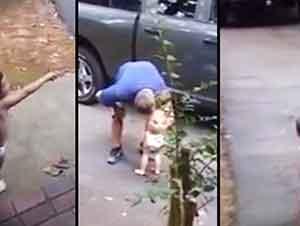 Bebe le da la despedida más dulce a su papá!