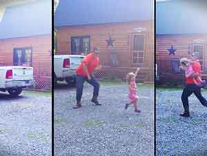 Después De Un Largo Día De Trabajo Éste Señor Regresa A Casa A Divertirse Con Su Hija Y A Bailar De ¡Felicidad!