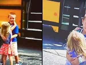 Hermanita Recibe A Su Hermano Mayor Con Un Abrazo Todos Los Días