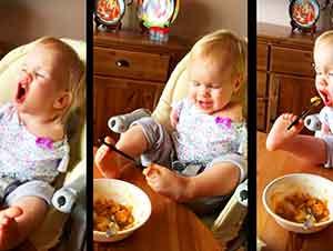 Bebé Sin Brazos No Se Da Por Vencida A La Hora De Comer
